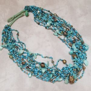 Vintage Necklace Shell, glass & Seed Beads, Boho